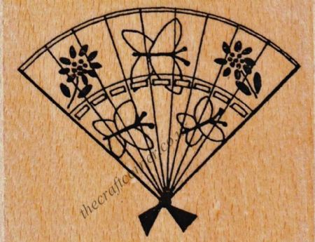 Oriental Fan Wood Mounted Rubber Stamp by Creative Expressions